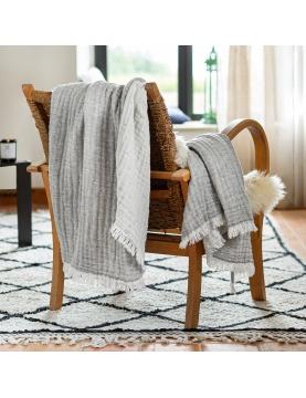 Plaid réversible en gaze de laine et coton