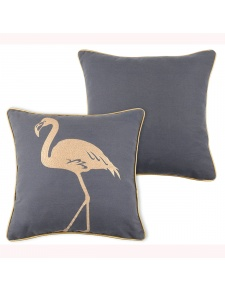 Coussin déhoussable flamant rose brodé or