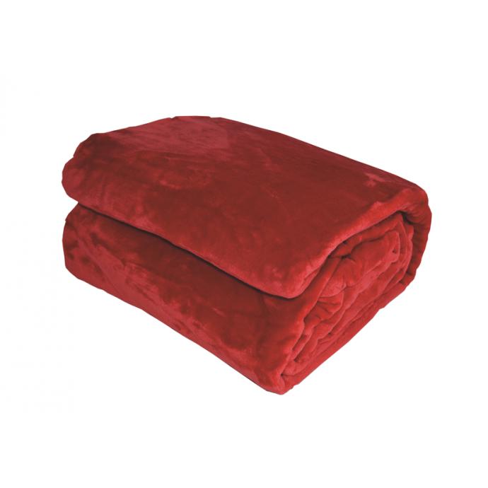 Couverture en Micro Velours Unie (Rouge)