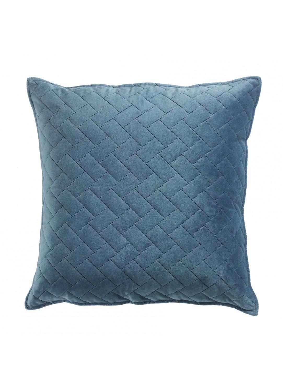 Housse de Coussin Matelassée en Velours (Bleu)