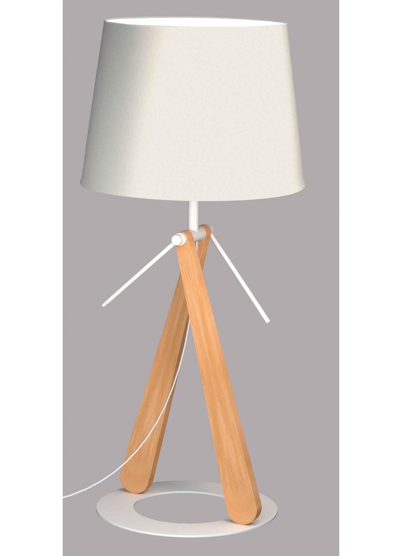 Lampe à Poser sur Socle Circulaire (Bois)