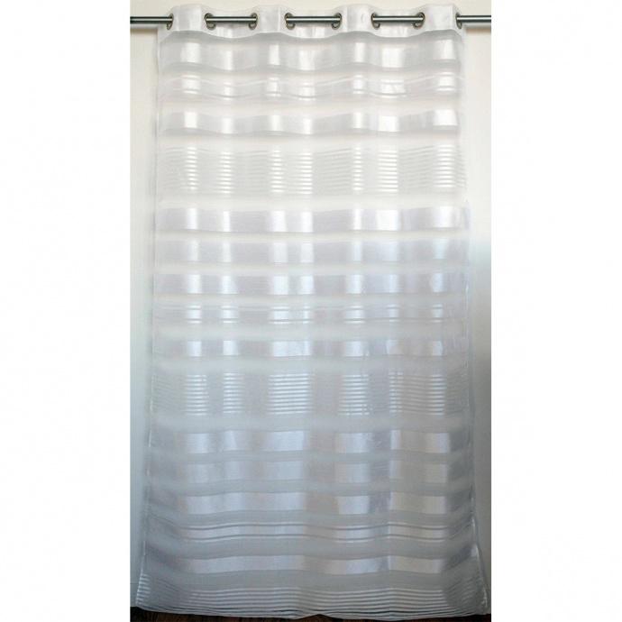 Voilage tamisant imprimé à fines rayures blanches (Blanc)