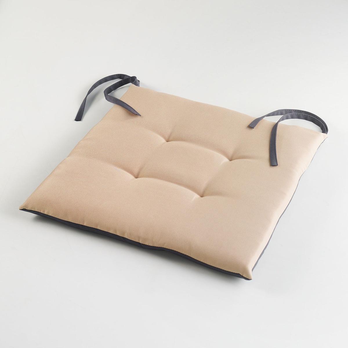 Assisse de Chaise Bicolore et Matelassée (TAUPE/ANTHRACITE)