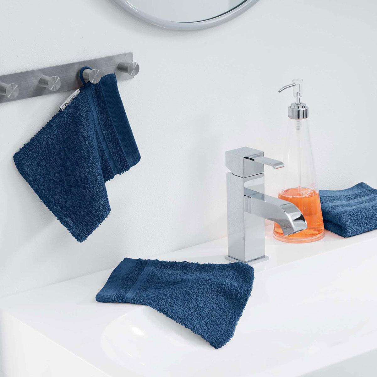 Lot de 2 Gants de Toilette en Eponge Unie  (Bleu Nuit)