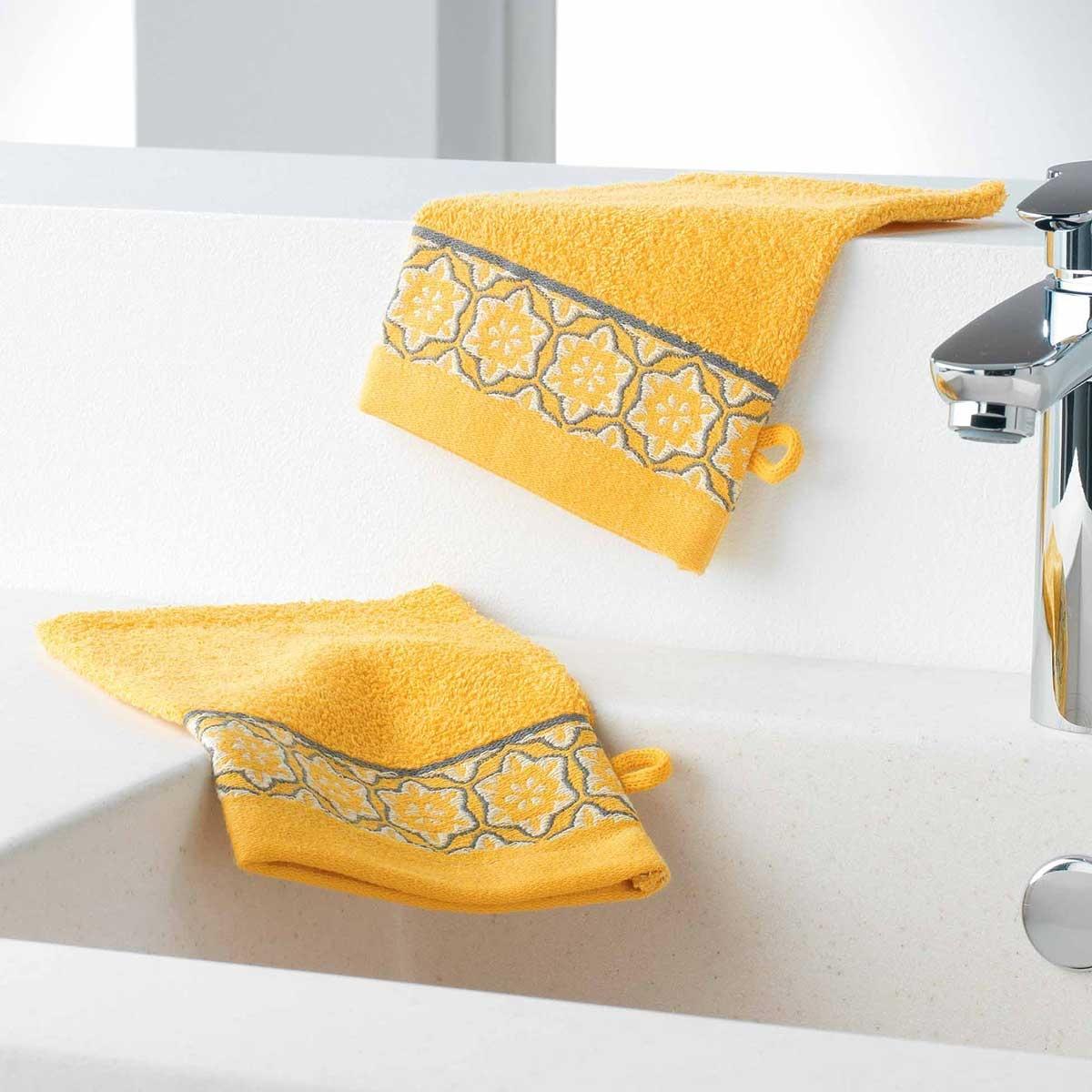 Gants de Toilette en Eponge Unie avec Liteau Jacquard (Miel)