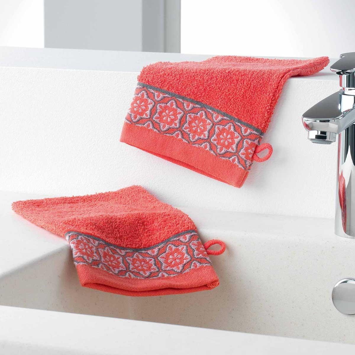 Gants de Toilette en Eponge Unie avec Liteau Jacquard (Corail)