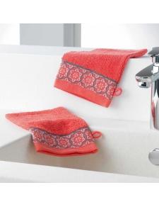 Gants de Toilette en Eponge Unie avec Liteau Jacquard