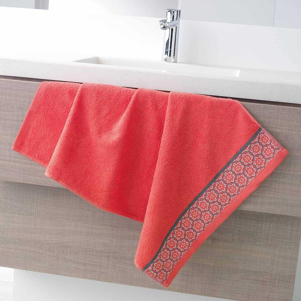 Serviette de Toilette en Eponge Unie avec Liteau Jacquard (Corail)