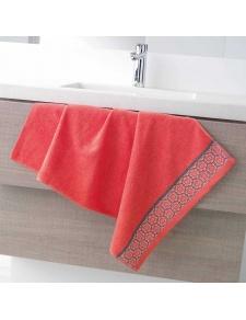 Serviette de Toilette en Eponge Unie avec Liteau Jacquard