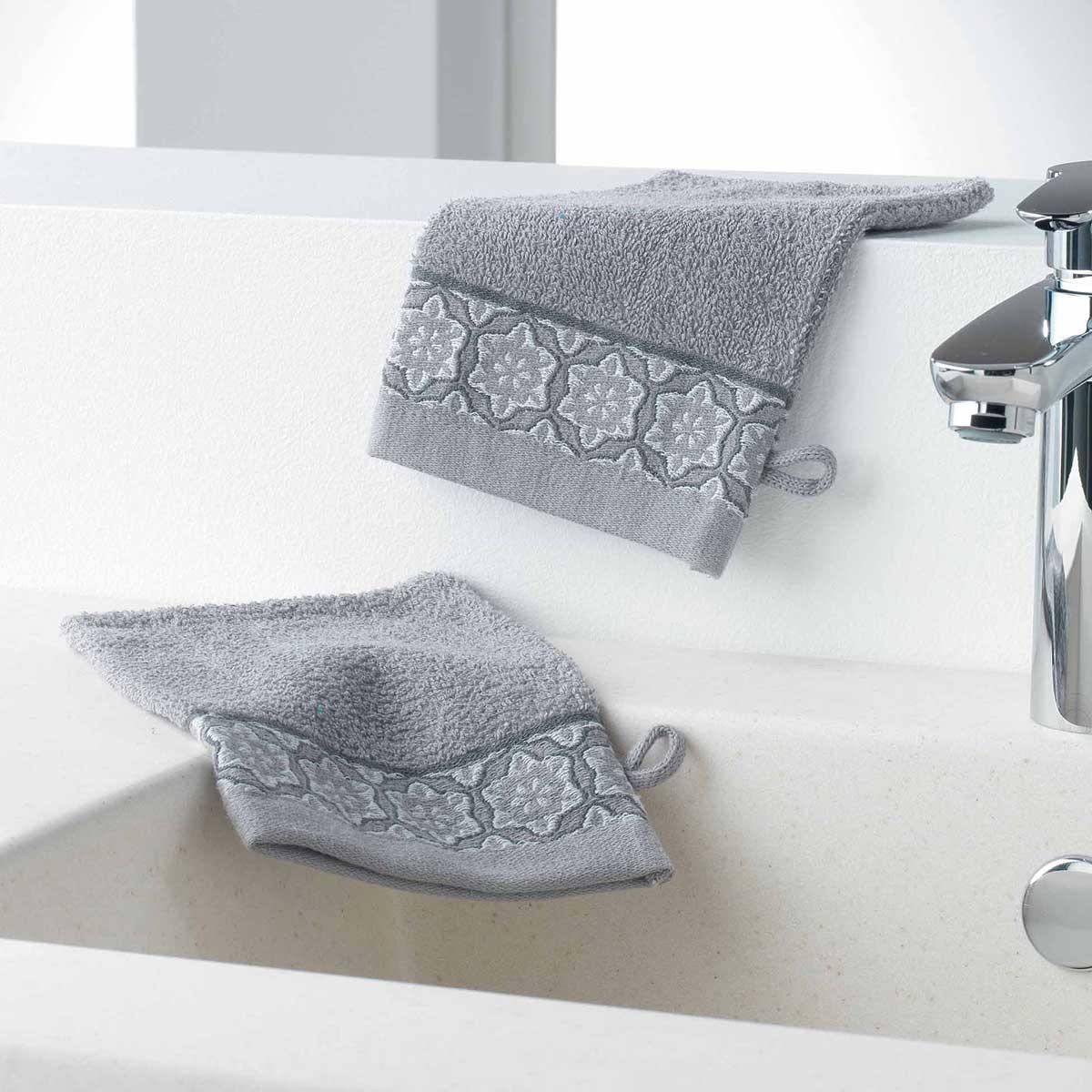 Gants de Toilette en Eponge Unie avec Liteau Jacquard (Gris)