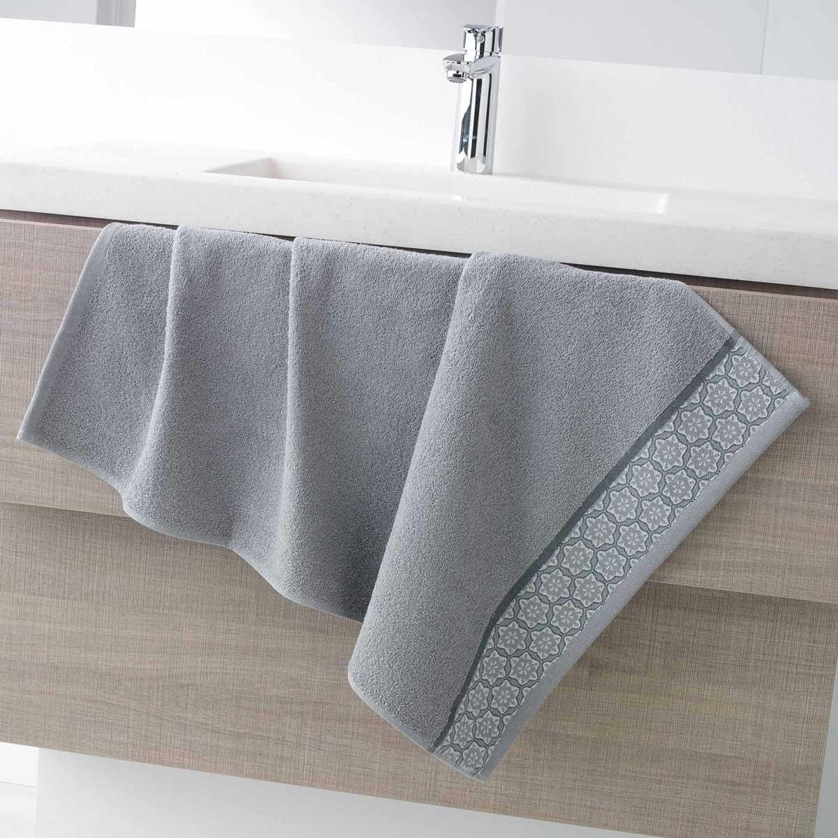 Serviette de Toilette en Eponge Unie avec Liteau Jacquard (Gris)