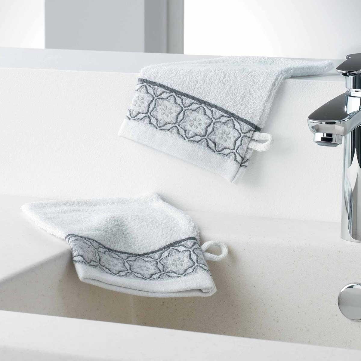 Gants de Toilette en Eponge Unie avec Liteau Jacquard (Blanc)