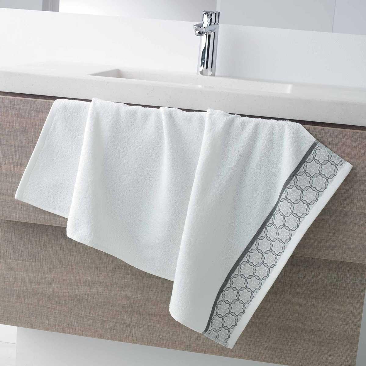Serviette de Toilette en Eponge Unie avec Liteau Jacquard (Blanc)