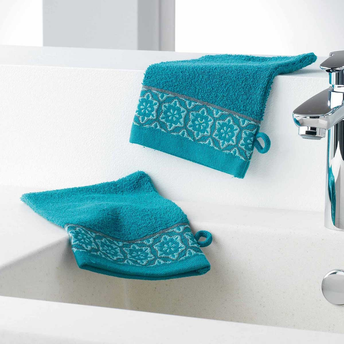 Gants de Toilette en Eponge Unie avec Liteau Jacquard (Bleu)