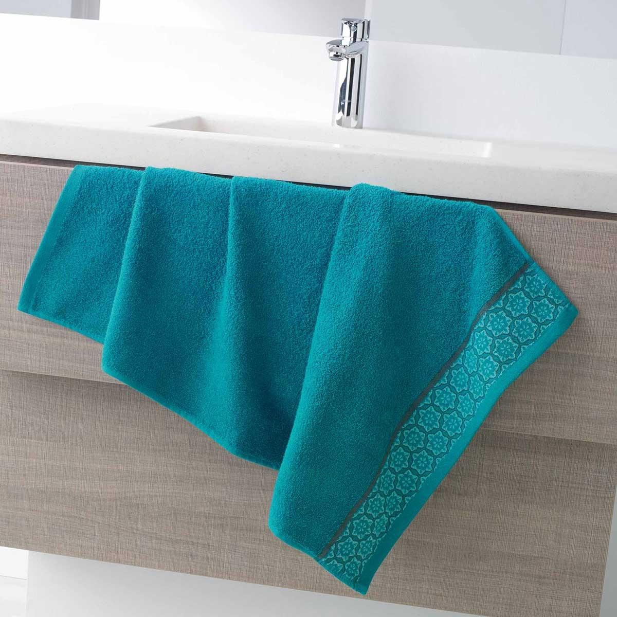 Serviette de Toilette en Eponge Unie avec Liteau Jacquard (Bleu)