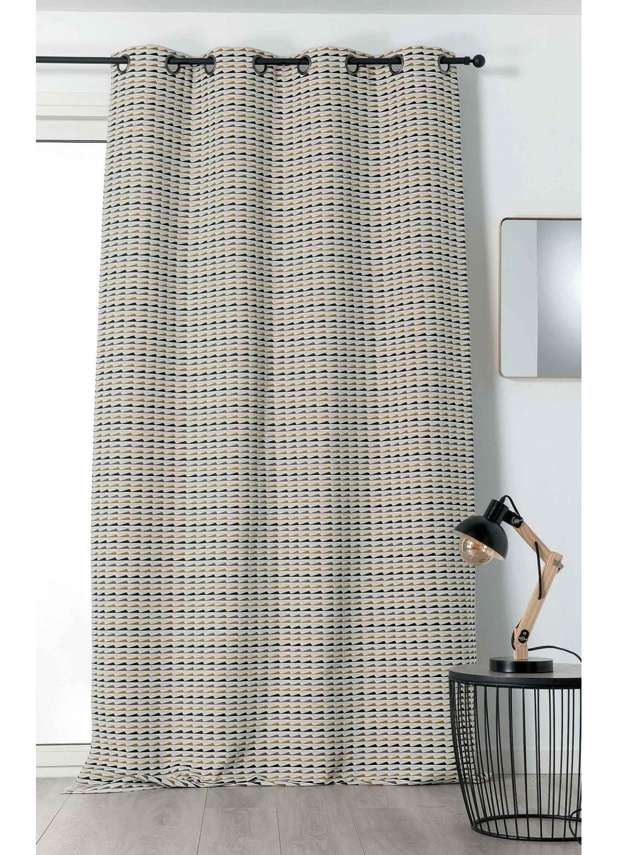 rideau motifs g om triques color s noir blanc et jaune. Black Bedroom Furniture Sets. Home Design Ideas