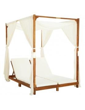 Chaise longue double avec rideaux et coussins