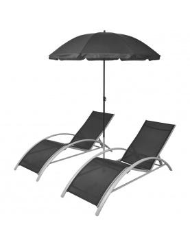Set de 2 chaises longues et parasol