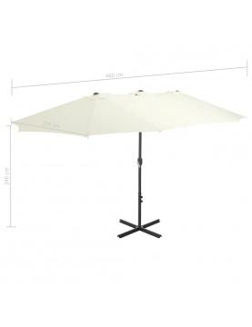Parasol d'extérieur double toit et poteau en aluminium