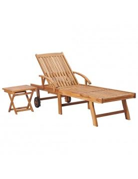 Chaise longue avec table en bois