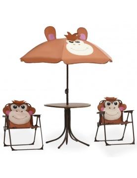 Petit salon de jardin pour enfant avec parasol Singe Rigolo