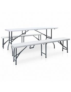 Table pliable de jardin avec 2 bancs