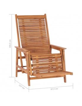 Chaise longue de jardin avec repose-pied solide