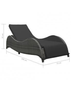 Chaise longue avec coussin en résine tressée
