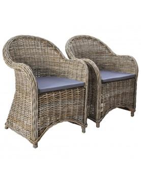 Duo de 2 chaises d'extérieur en rotin