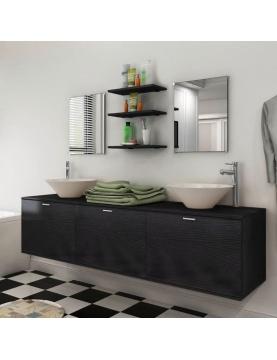 Ensemble meuble de salle de bain avec vasques et miroirs