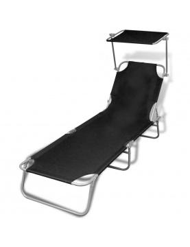 Chaise longue pliable avec auvent