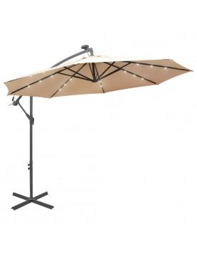 Parasol déporté Ø 300 cm avec éclairage LED