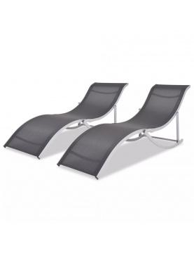 Duo de chaises longues pliantes