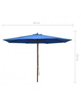 Parasol droit avec mât en bois Ø 350 cm
