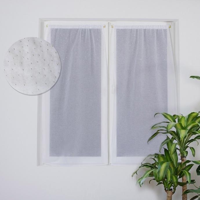 Paire de vitrages droits avec une pluie de strass (Blanc)