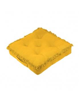 Coussin de sol frangé moutarde