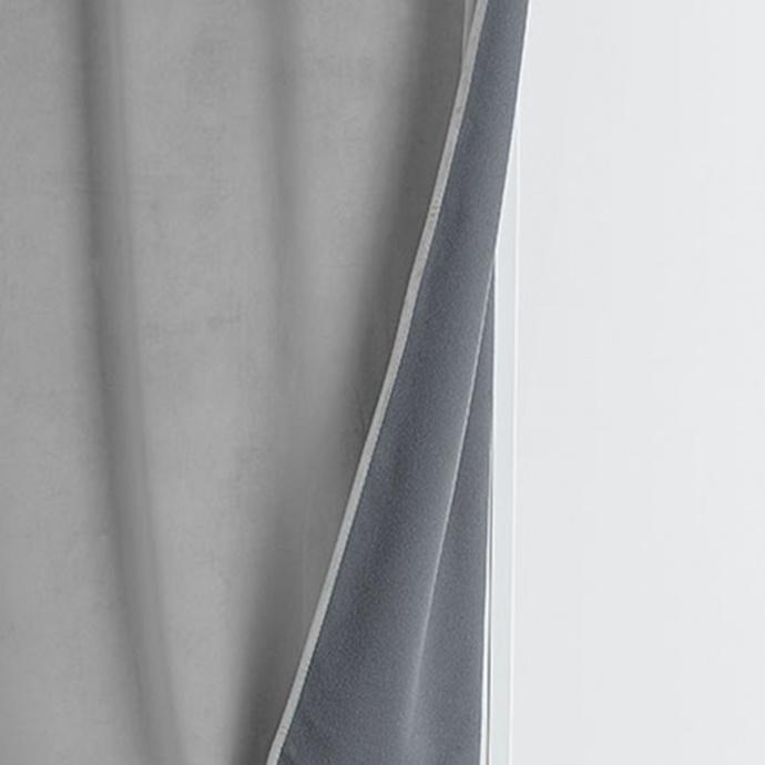 Rideau isolant et occultant en velours doublé polaire (Gris Perle)