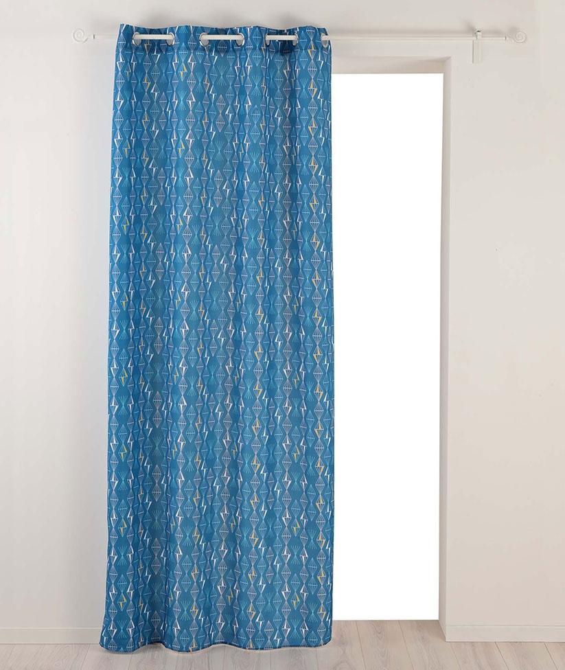 Rideau à Œillets à Tendance Géométrique (Bleu)