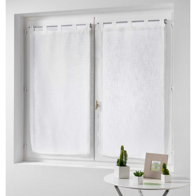 Paire de rideaux effet lin (Blanc)