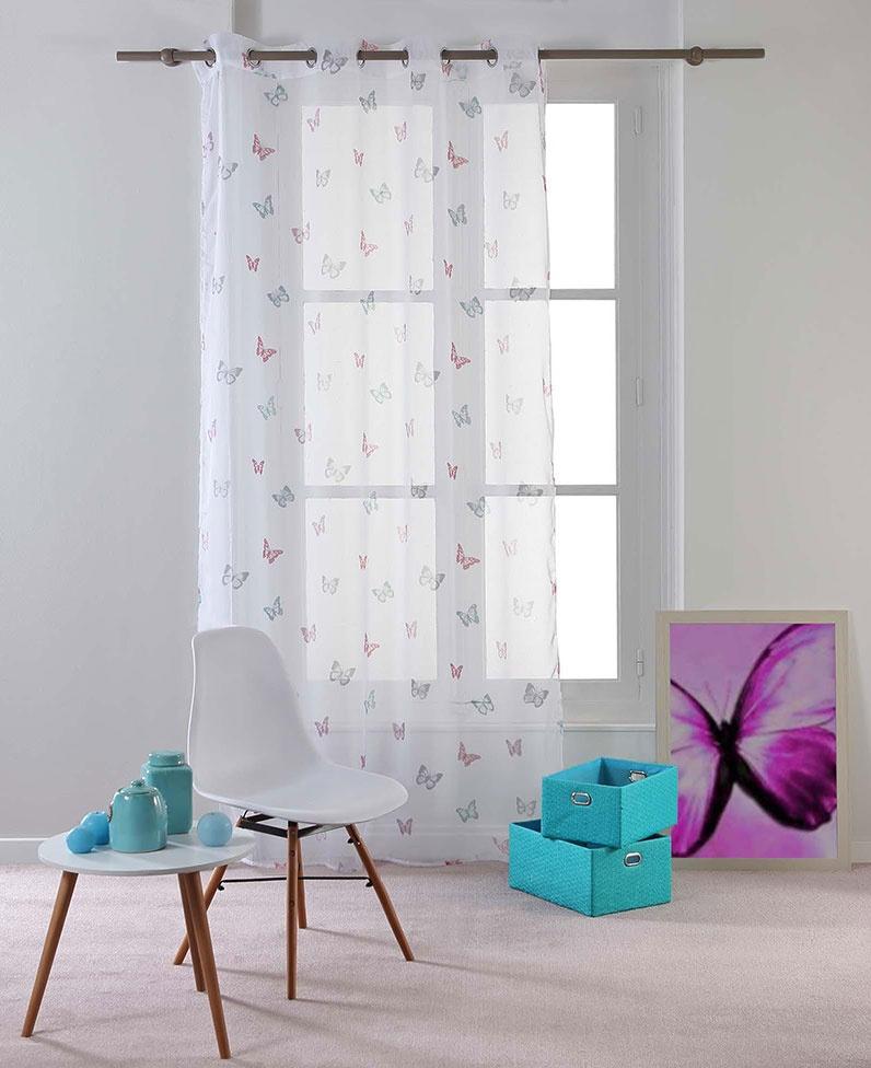 Voilage Imprimés Papillons (Pastel)