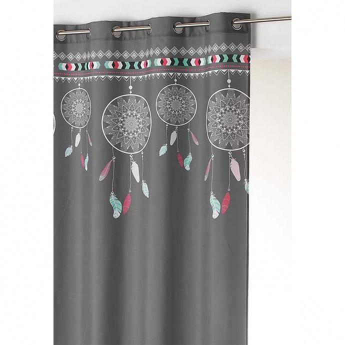 Rideau à œillet style indien (Anthracite/Menthe)