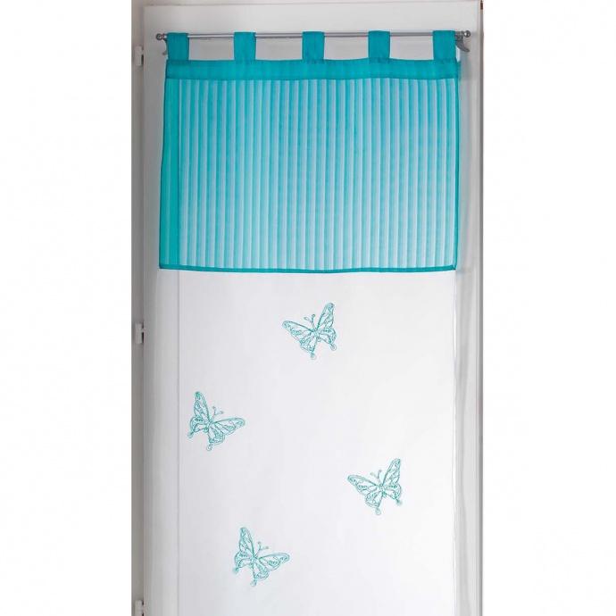 Paire de voilages aux papillons brodés (Bleu)