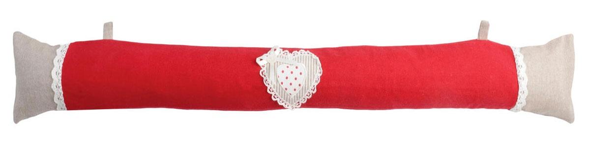 Coussin Bas de Porte Avec Cœur Dentelé (Rouge)