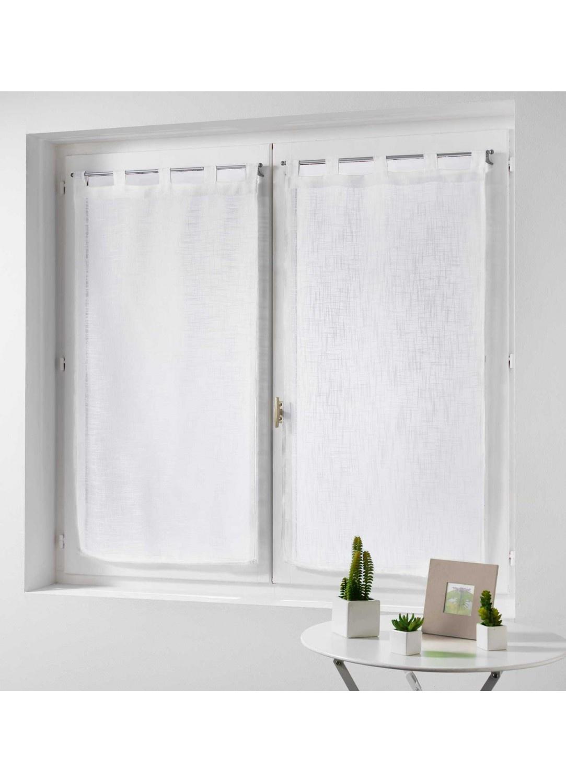 paire de rideaux effet lin blanc gris rose noisette bleu naturel ciel. Black Bedroom Furniture Sets. Home Design Ideas