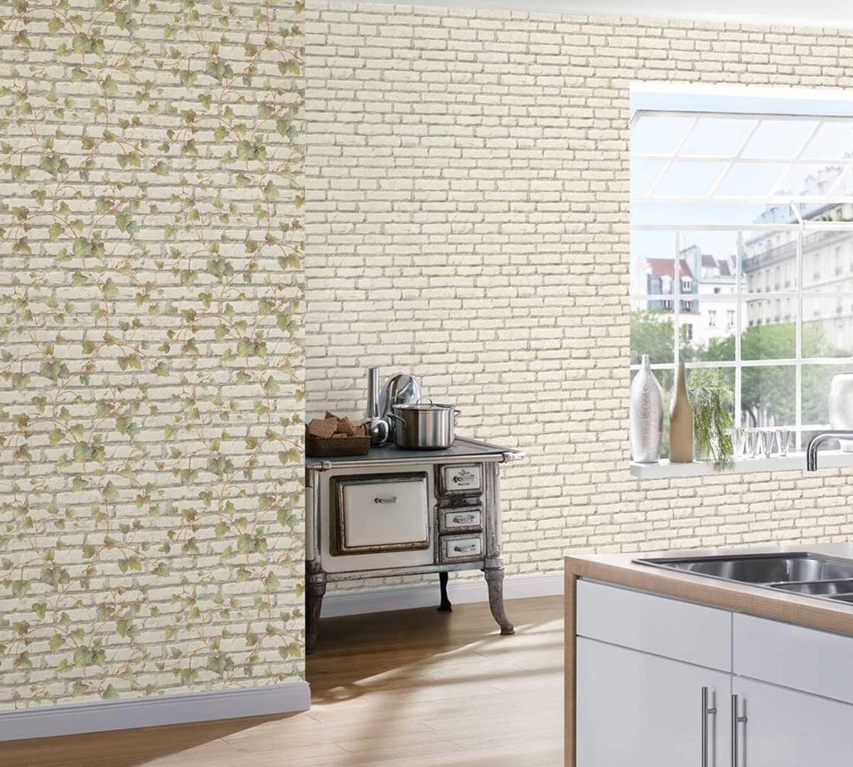Papier Peint à Briques Blanches et Lierre (Blanc)