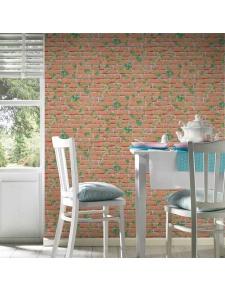 Papier Peint à Briques Terracottas et Lierre