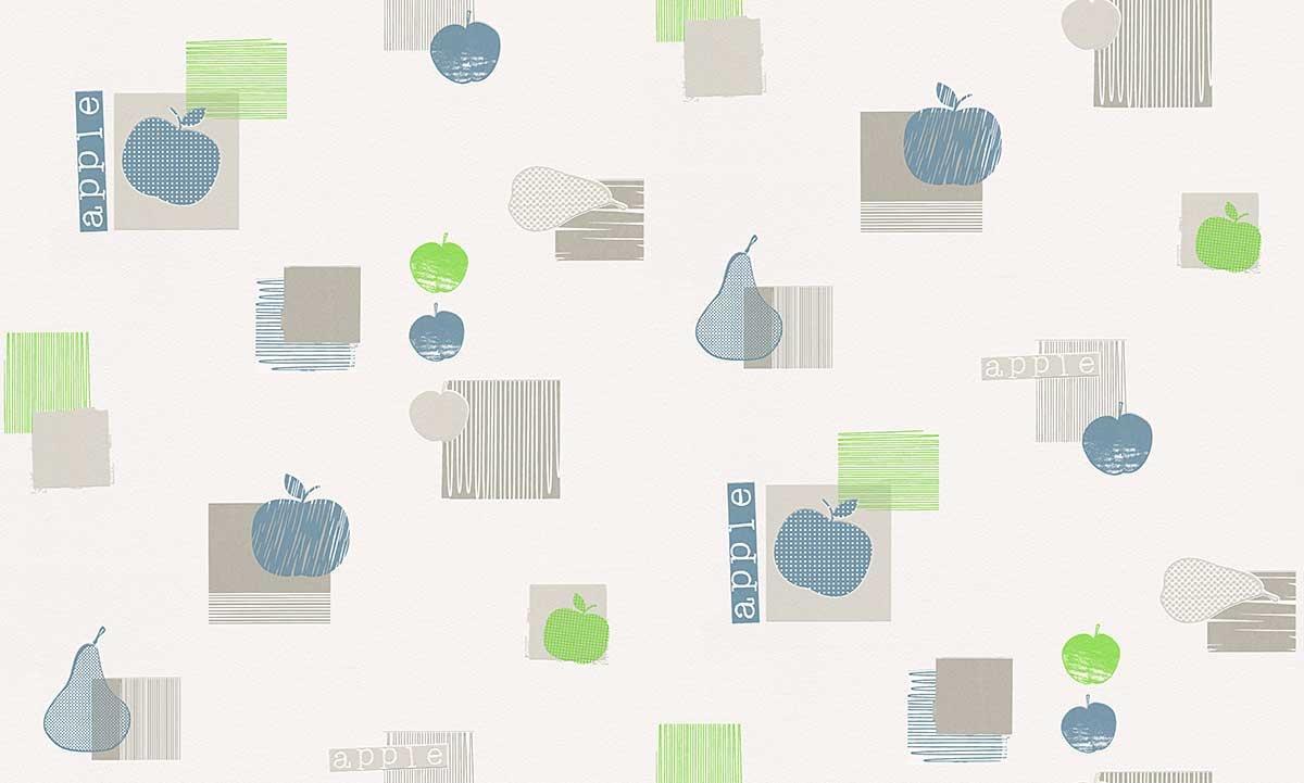 papier peint de cuisine pomme vert bleu rouge gris. Black Bedroom Furniture Sets. Home Design Ideas