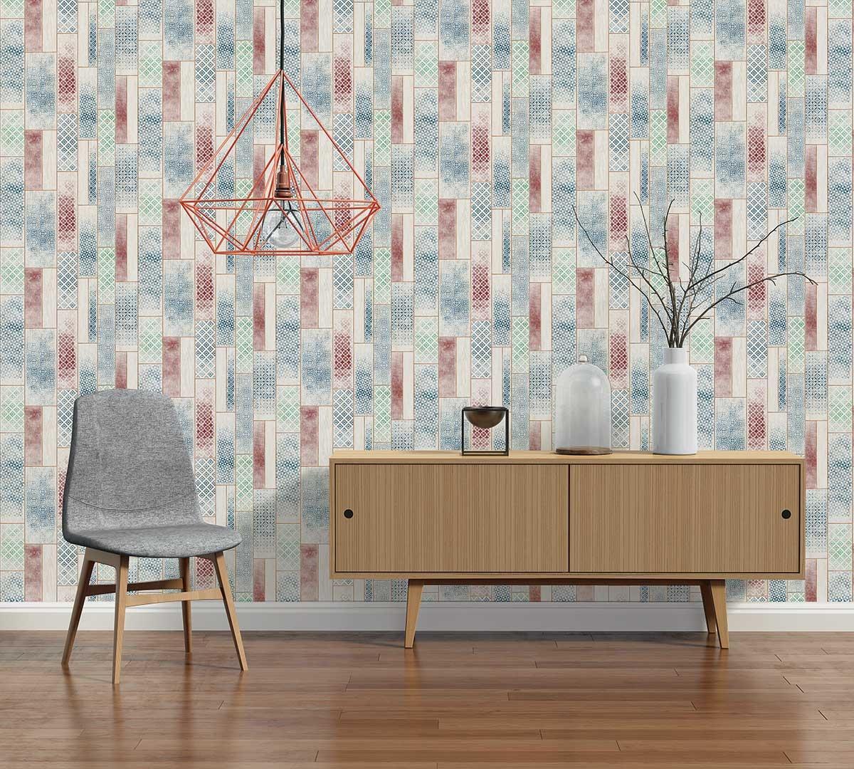 papier peint imitation lambris motifs azuleros bleu. Black Bedroom Furniture Sets. Home Design Ideas