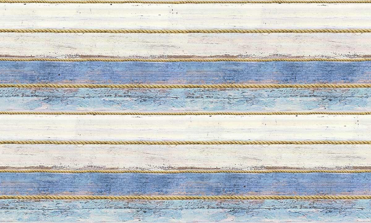 Papier Peint à Rayures et Cordelettes (Bleu Creme)