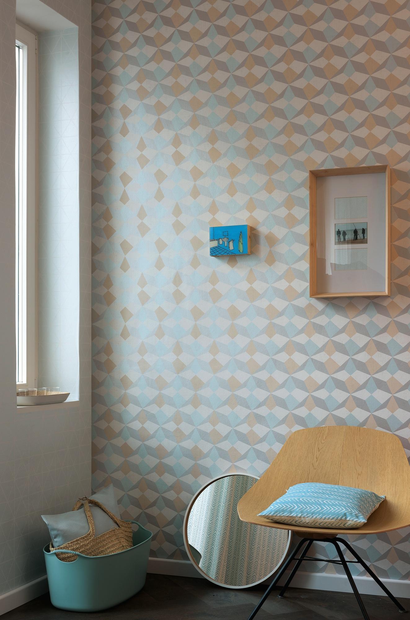 Papier Peint Origami Scandinave (Bleu Saumon Argent)